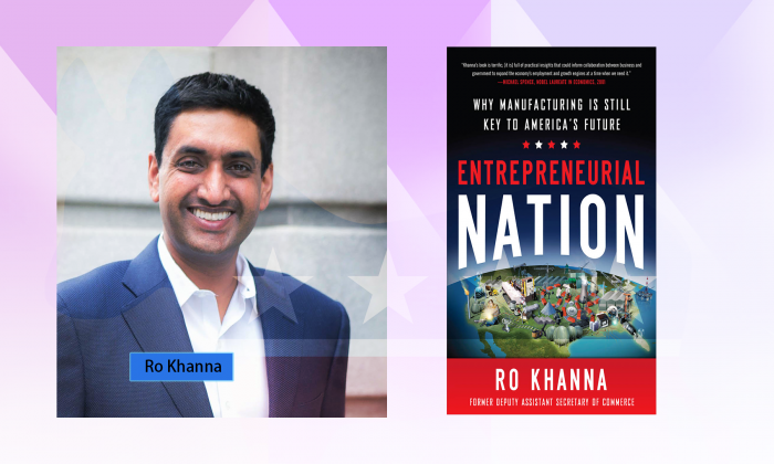 U.S. Congress Candidate Ro Khanna and his book (Courtesy of Ro Khanna)