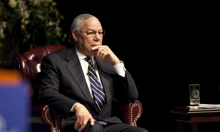 Former Secretary of State Colin Powell on January 20, 2011 in College Station Texas. (Ben Sklar/Getty Images)