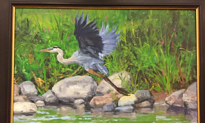 "Oil painting by Joseph Sundwall title ""Great Blue Heron."" The artist exhibited a series of paintings of birds at SUNY Orange-Middletown campus Aug. 22 through Oct. 23, 2016. (courtesy of the artist)"