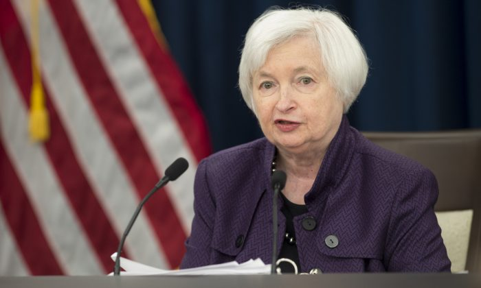 Federal Reserve chair Janet Yellen speaks during a press conference in Washington, on Sept. 21, 2016. The Fed kept its benchmark interest rate unchanged for the sixth straight meeting. (Saul Loeb/AFP/Getty Images)