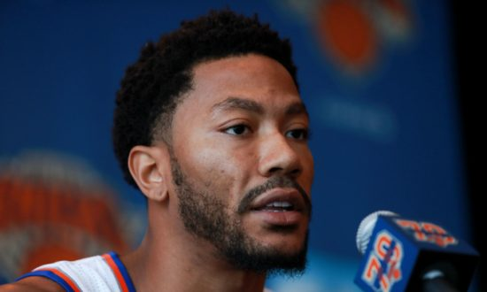 b28011d3ea32 Derrick Rose  25 of the New York Knicks addresses the media during the New  York