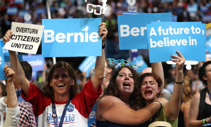 Supporters of Sen. Bernie Sanders (I-VT)  on the first day of the Democratic National Convention in Philadelphia on  July 25, 2016. Bernie Sanders promotes Democratic Socialism. (Joe Raedle/Getty Images)