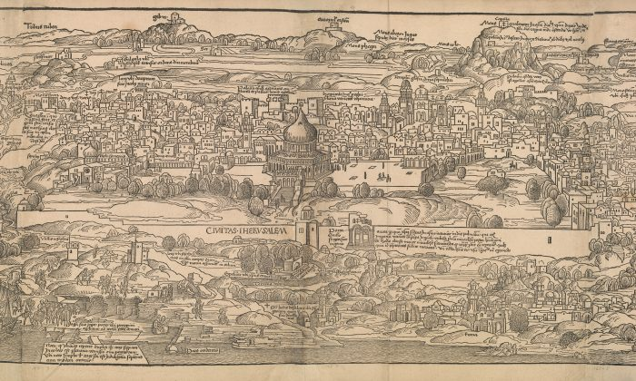 """View of Jerusalem"" From Journey to the Holy Land (La peregrination en Terre Sainte). Hand-colored engraving written by Bernhard von Breydenbach (1440?–1497?), translated by Nicolas Le Huen (active 15th century), illustrated by Erhard Reuwich (ca. 1455–ca. 1490), and published by Topie, Lyon 1488, Lyon. The Metropolitan Museum of Art, New York, Harris Brisbane Dick Fund, 1928."