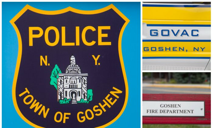 The emblems of the Town of Goshen Police Department (L) Goshen Volunteer Ambulance Corps (top), and  Goshen Fire Department (bottom). (Holly Kellum/Epoch Times)