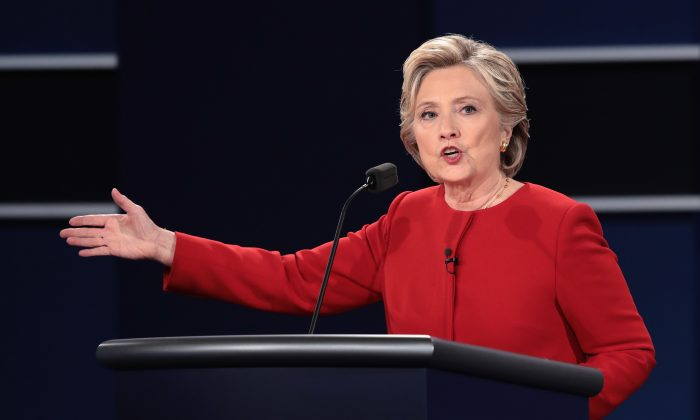 Democratic presidential candidateHillary Clinton during the Presidential Debate at Hofstra University in Hempstead, New York, on Sep. 26, 2016. (Drew Angerer/Getty Images)