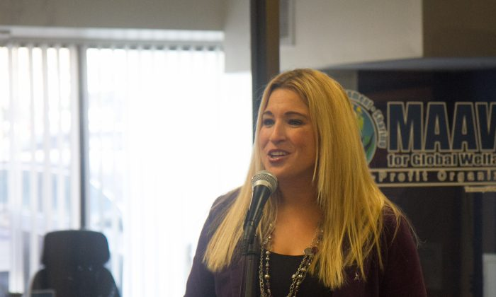 Kellyann Kostyal-Larrier, the executive director of domestic violence agency Safe Homes of Orange County speaking at a press conference to mark the beginning of October, Domestic Violence Awareness month on Oct. 3, 2016 in Newburgh. Kostyal-Larrier announced the launch of a lethality risk assessment program that started in Newburgh Oct. 1, 2016. (Holly Kellum/Epoch Times)