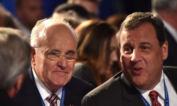 Governor of New Jersey Chris Christie (R) and Former Mayor of New York City Rudy Giuliani before the first presidential debate at Hofstra University in Hempstead, New York on September 26, 2016.  (PAUL J. RICHARDS/AFP/Getty Images)