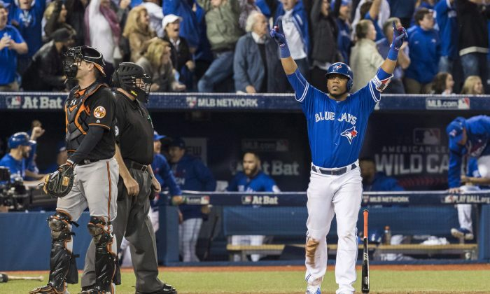 Edwin Encarnacion hit a walk-off three-run home run in the 11th inning of the American League wildcard game in Toronto on Oct. 4, 2016. (The Canadian Press/Mark Blinch)