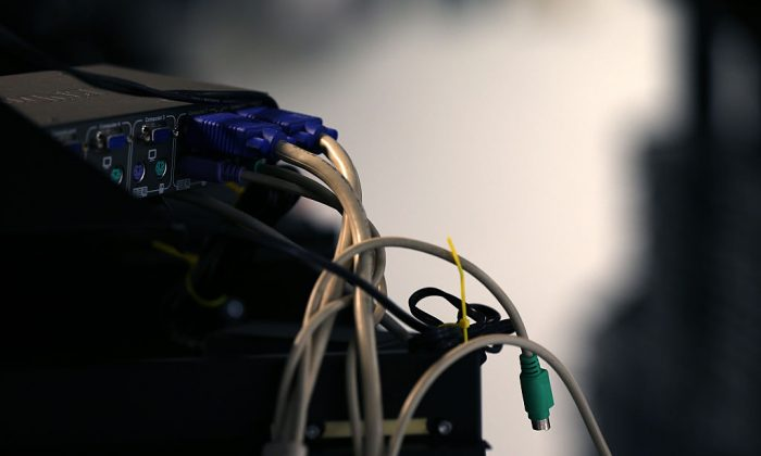Computer cables are plugged in a server room on Nov. 10, 2014, in New York City. (Michael Bocchieri/Getty Images)