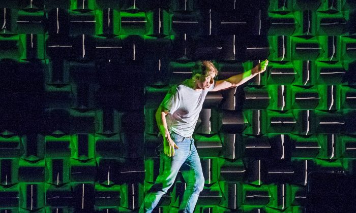 """Conceived, directed, and performed by Simon McBurney, """"The Encounter"""" traces the real-life tale of Loren McIntyre, who tries to survive with the Amazonian people, the Mayoruna. (Joan Marcus)"""