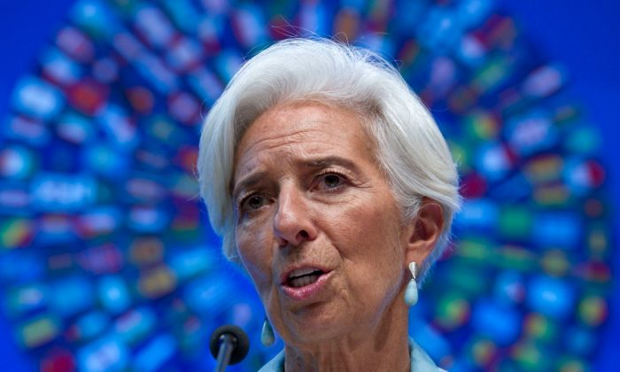International Monetary Fund (IMF) Managing Director Christine Lagarde speaks during a news conference at the World Bank/IMF Annual Meetings at the IMF headquarters in Washington, D.C., on Oct. 8, 2016. (AP Photo/Jose Luis Magana)