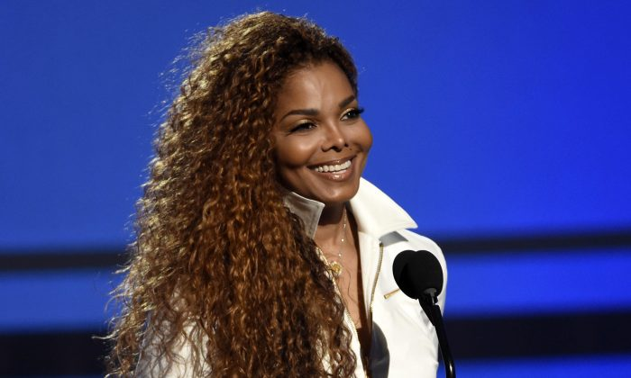 Janet Jackson accepts the ultimate icon: music dance visual award at the BET Awards in Los Angeles. (Chris Pizzello/Invision/AP)