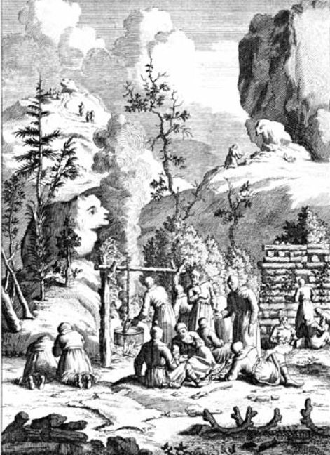 A depiction of the primitive tradition in Finland of holding ceremonies near rocks formations that look like humans or animals. (Public Domain)