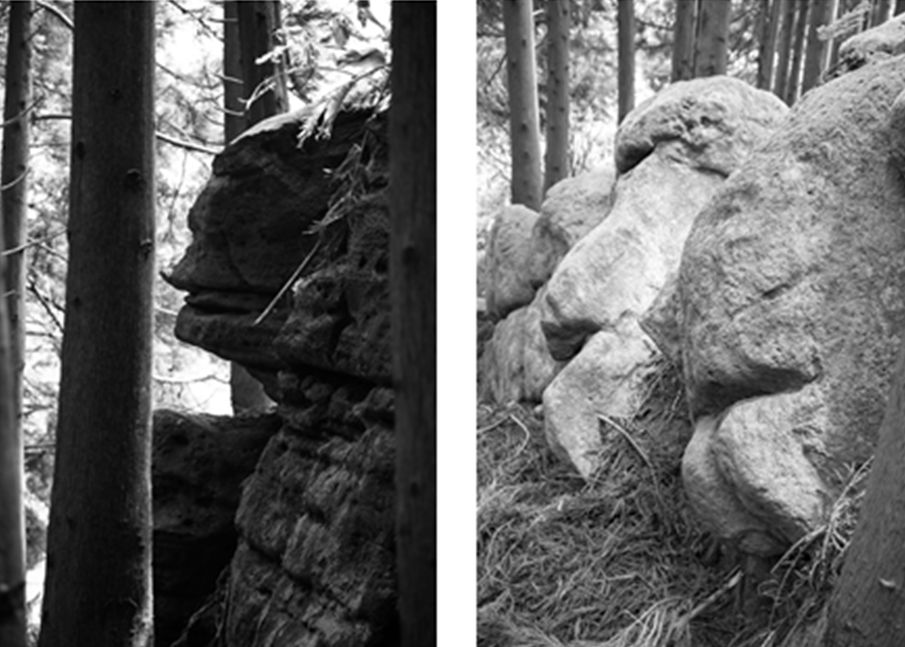 Rock formations that look like faces on the Azores islands. (Courtesy of Antonieta Costa)
