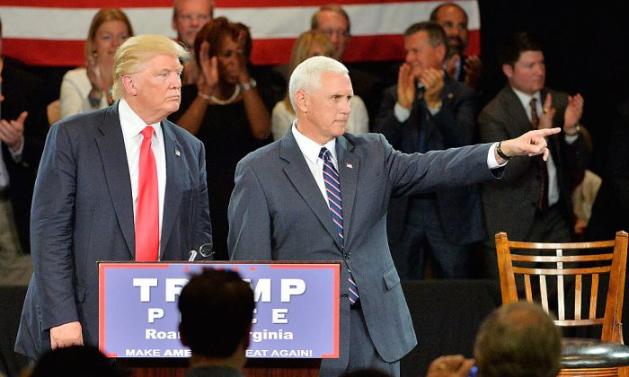 Republican presidential candidate Donald Trump (L) and Republican vice presidential candidate Mike Pence during a town hall style campaign stop at the The Hotel Roanoke & Conference Center in Roanoke, VA., on July 25, 2016. (Sara D. Davis/Getty Images)