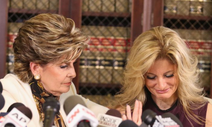 """Attorney Gloria Allred holds a press conference with Summer Zervos, a former candidate on """"The Apprentice"""" season five, who is accusing Donald Trump of inappropriate sexual conduct October 14, 2016 in Los Angeles, California. ( Frederick M. Brown/Getty Images)"""