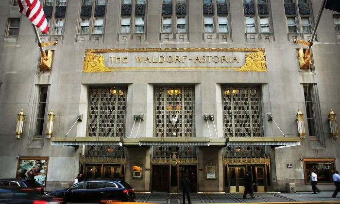 The landmark Waldorf Astoria hotel on Park Avenue, New York City, was sold to Beijing-based Anbang Insurance Group for $1.95 billion in 2014. (Spencer Platt/Getty Images)