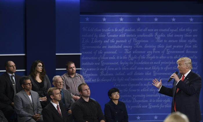 Republican presidential candidate Donald Trump speaks to the audience during the second presidential debate at Washington University in St. Louis, Missouri on October 9, 2016. (Paul J. Richards/AFP/Getty Images)