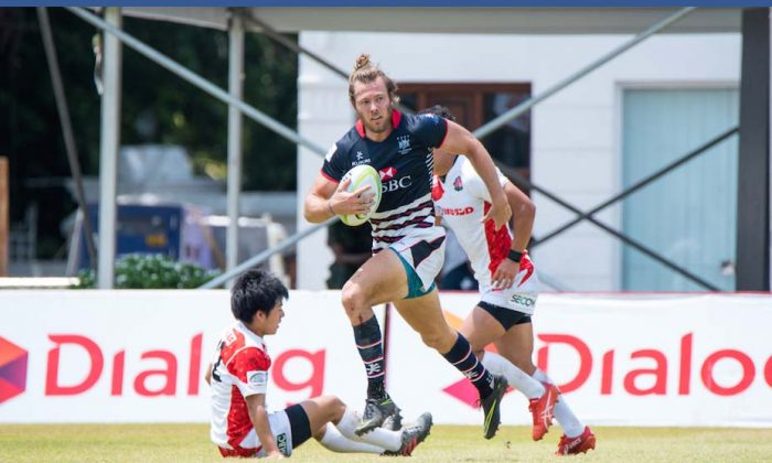 Ryan Meacheam of Hong Kong in their opening Pool-A match against Japan in the Asia Rugby Sevens Series, in Sri Lanka on Saturday Oct 15, 2016.  (Asia Rugby)