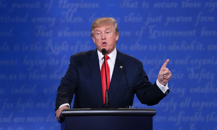US Republican presidential candidate Donald Trump at the Thomas Mack Center on the campus of the University of Las Vegas in Las Vegas, Nevada on October 19, 2016.  (SAUL LOEB/AFP/Getty Images)