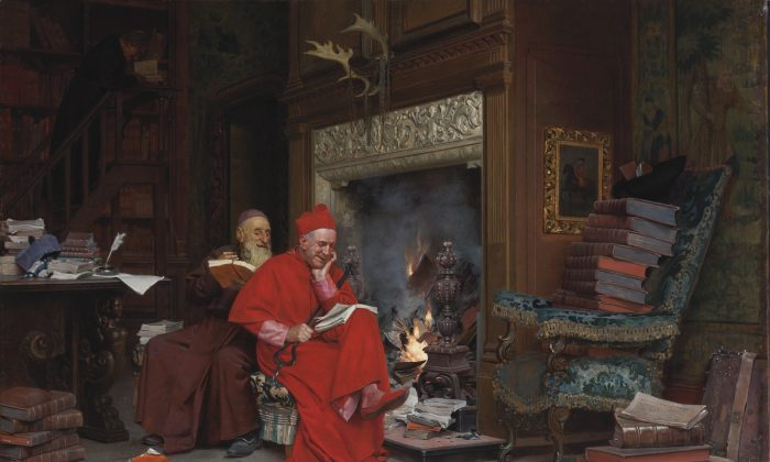 """""""The Committee on Moral Books"""" by Jehan Georges Vibert (1840–1902), French. 17.7 inches by 25.5 inches. Oil on canvas. Private collection. (Courtesy of Art Renewal Center)  32. Gustave Doré (1832–1883) French La famille du saltimbanque: l'enfant blesse"""