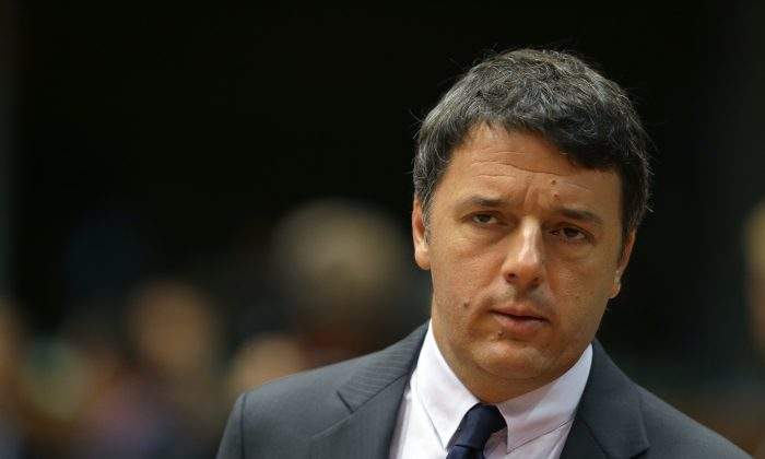 Italian Prime Minister Matteo Renzi during the EU Summit in Brussels on Oct. 21, 2016. (AP Photo/Alastair Grant)