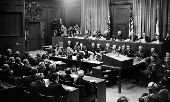 View of the judges bench in Nuremberg International Military Tribunal (IMT) court taken in September 1946, during the war crimes trial of nazi leaders during the World War II. (AFP/Getty Images)
