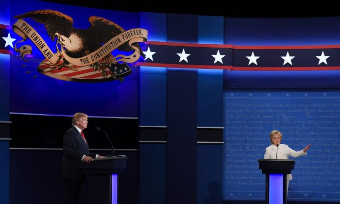 Republican nominee Donald Trump and Democratic nominee Hillary Clinton during the final presidential debate at the Thomas & Mack Center of the University of Las Vegas in Las Vegas on Oct. 19, 2016. (Robyn Beck/AFP/Getty Images)