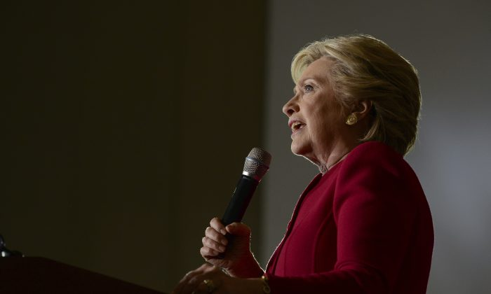 Democratic presidential candidate Hillary Clinton speaks at an early voting rally at the Broward College North Campus in Coconut Creek, Fla. on Tuesday, Oct. 25, 2016. (Maria Lorenzino/South Florida Sun-Sentinel via AP)