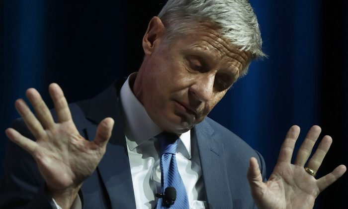 Libertarian presidential nominee Gary Johnson during a 2016 Presidential Election Forum, hosted by Asian and Pacific Islander American Vote (APIAVote) and Asian American Journalists Association (AAJA), at The Colosseum at Caesars Palace August 12, 2016 in Las Vegas, Nevada. The forum provided an opportunity for presidential candidates or their representatives to speak to Asian voters directly.  (Alex Wong/Getty Images)
