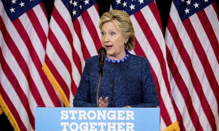 Democratic presidential candidate Hillary Clinton speaks at a news conference at Theodore Roosevelt High School in Des Moines, Iowa, on Oct. 28, 2016. (AP Photo/Andrew Harnik)