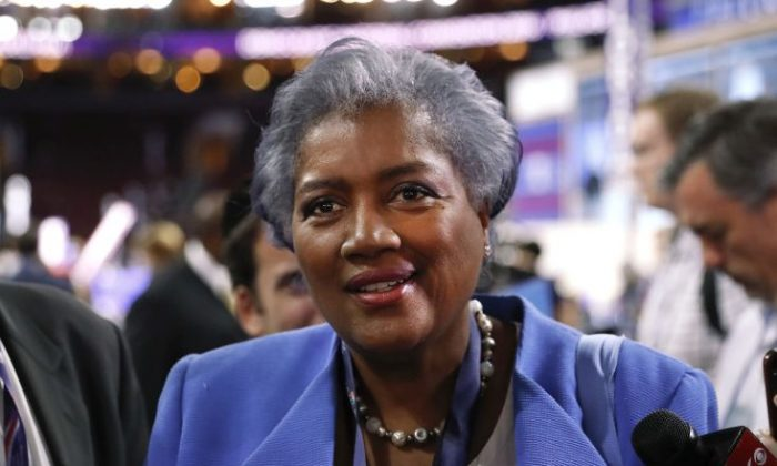 FILE—Donna Brazile, interim chair of the Democratic National Committee, appears on the floor of the Democratic National Convention in Philadelphia, on July 25, 2016. (AP Photo/Paul Sancya, File)