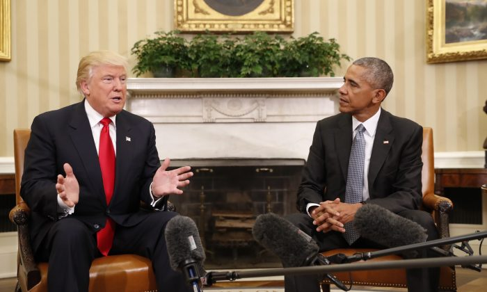President-elect Donald Trump meets with President Barack Obama in the Oval Office of the White House on Nov. 10, 2016. (AP Photo/Pablo Martinez Monsivais)
