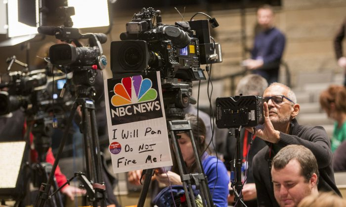 Members of the media set up prior to Republican presidential candidate Donald Trump speaking at the Bridge View Center in Ottumwa, Iowa on Jan. 9, 2016. Trump has repeatedly talked about media bias during his campaign for the White House. (Aaron P. Bernstein/Getty Images)
