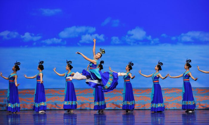 Female Shen Yun dancers perform a classical Chinese dance number. (Courtesy of Shen Yun Performing Arts)