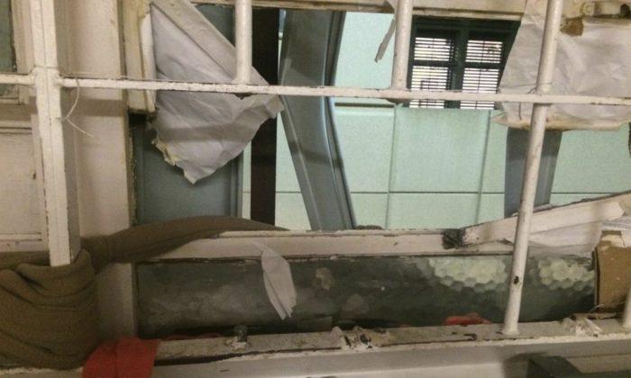 A window of the Santa Clara County Jail where inmates cut through the bars and escaped on Wednesday. (Santa Clara County Sheriff via AP)