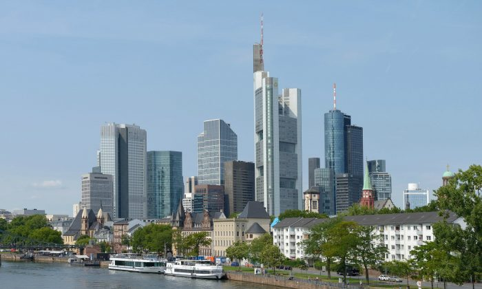 Frankfurt's banking skyscrapers along the banks of the River Main. Central banks may have harmed banks more than they have helped them, which is one reason for stagnating global growth. (Frankfurt Tourist+Congress Board)