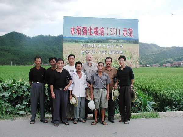 SRI farmers pose with Cornell's Senior Advisor for SRI-Rice Norman Uphoff in Tien Tai county, Zhejiang province, China, in 2005. (Courtesy Norman Uphoff)