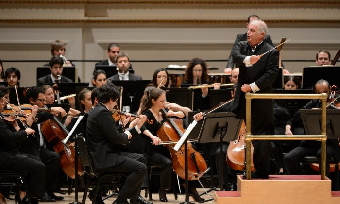 Argentinian-born conductor Daniel Barenboim (R) directs the West-Eastern Divan Orchestra in Beethoven's Symphony No. 3 January 31, 2013 at Carnegie Hall in New York. (STAN HONDA/AFP/Getty Images)