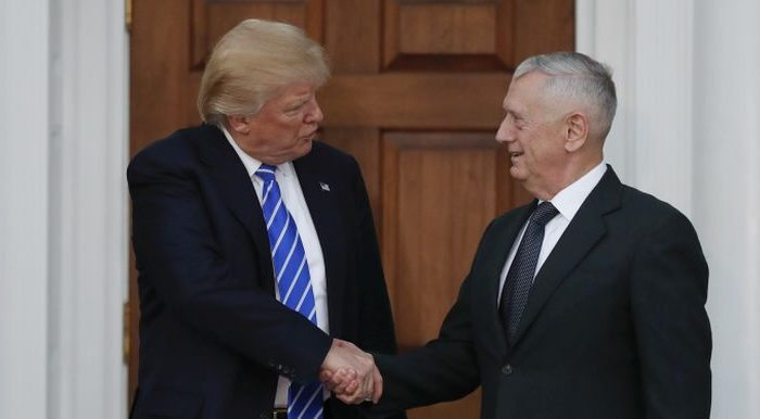 President-elect Donald Trump shakes hands with retired Marine Corps Gen. James Mattis at Trump National Golf Club Bedminster clubhouse in Bedminster, N.J., Saturday, Nov. 19, 2016. (AP Photo/Carolyn Kaster)
