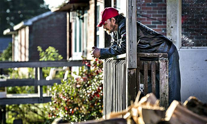 Danny Newell, an unemployed logger, at his home in Indian Township, Maine, on Oct. 2, 2013. (AP Photo/Robert F. Bukaty)
