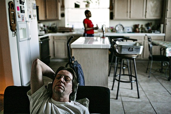 Butch Youshaw, an unemployed card dealer, with his girlfriend in Henderson, Nev., in 2008. (AP Photo/Jae C. Hong)