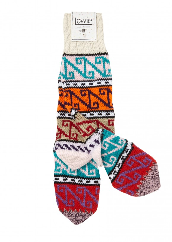 Lowie Turkish socks, hand knitted from leftover yarn, make a unique, colourful, and cosy gift. These were Lowie's first product sold in 2002, and are still a favourite today. £22, ilovelowie.com