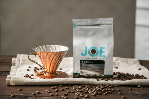 The Hario Copper Pour Over and Joe Coffee's holiday blend, The Rockefeller. (Benjamin Chasteen/Epoch Times)