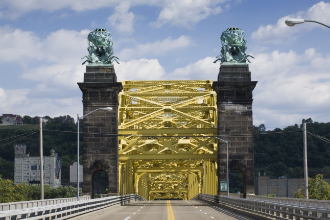 Entrance to the 16th Street Bridge, an arch bridge that spans the Allegheny River. (Phil Scalia/TravelPittsburgh)