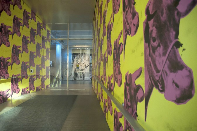 Eclectic Andy Warhol-designed wallpaper graces the entrance to the Andy Warhol Museum. (Carole Jobin)