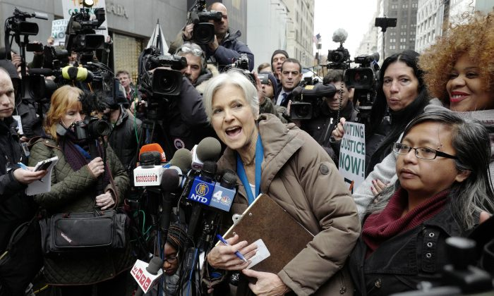 Jill Stein, the presidential Green Party candidate, speaks at a news conference in front of Trump Tower, Monday, Dec. 5, 2016, in New York. Stein is spearheading recount efforts in Pennsylvania, Michigan and Wisconsin.   (AP Photo/Mark Lennihan)