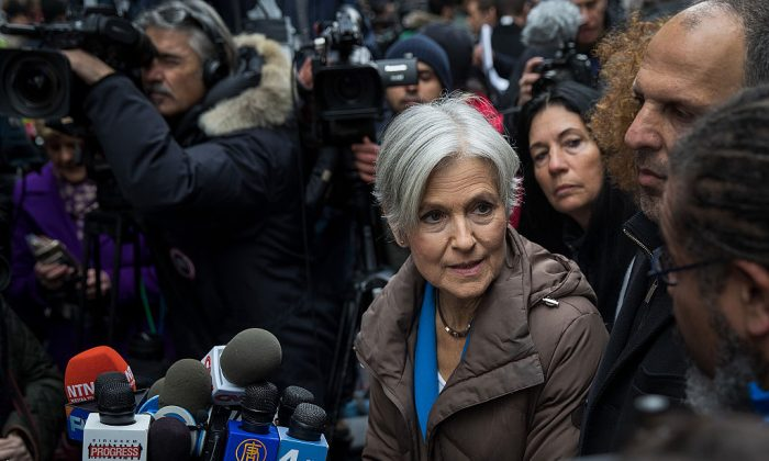 Green Party presidential candidate Jill Stein speaks at a news conference on Fifth Avenue across the street from Trump Tower in New York City on Dec. 5, 2016. (Photo by Drew Angerer/Getty Images)