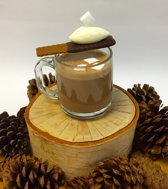 Lafayette's hot chocolate with white chocolate Chantilly and vanilla marshmallow. (Courtesy of Valrhona)