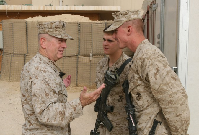 Marine Lt. Gen. James N. Mattis greets two corporals after arriving at the combat operations point military housing complex in Baghdadi, Iraq, in 2007. (Lance Cpl. Brian L. Lewis, USMC)